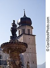 trento nettuno\'s fountain and duomo