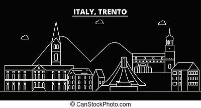 Trento silhouette skyline. Italy - Trento vector city,...
