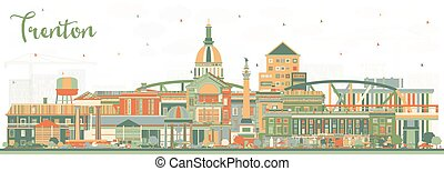 Trenton New Jersey City Skyline with Color Buildings.