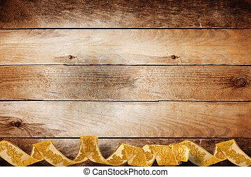 trenza, oro, de madera, vendimia, girar, plano de fondo, ...