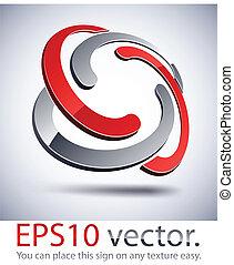 trenzado, icon., moderno, logotipo, 3d