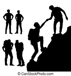 trepador, hombres, éxito, montaña
