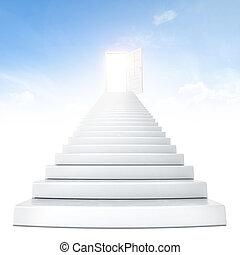 treppe, führen, öffnen, tür