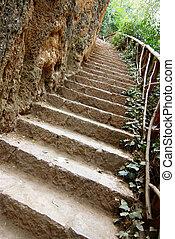 treppe, landschaft