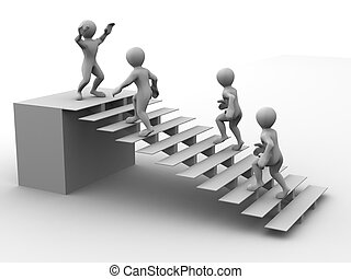 treppe, mann