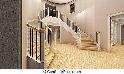 treppenaufgang, buero, modern, übertragung, hell, 3d