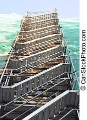 treppenaufgang, gerüstbau