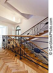 treppenaufgang, treppengeländer