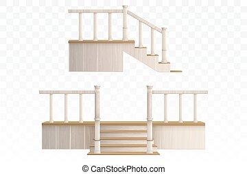 treppenaufgang, vorhalle, hölzern