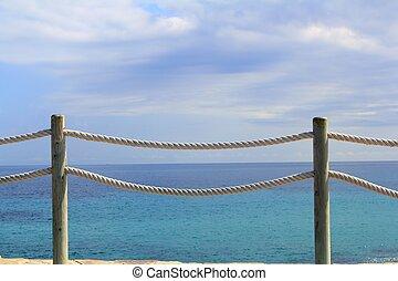 treppengeländer, geländer, auf, marine, seil, und, holz