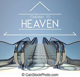 treppenhaus, begriff, himmel, treppe, erfolg