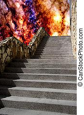 treppenhaus, zu, hölle