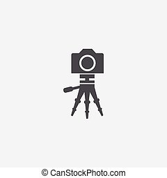treppiede, icona, macchina fotografica