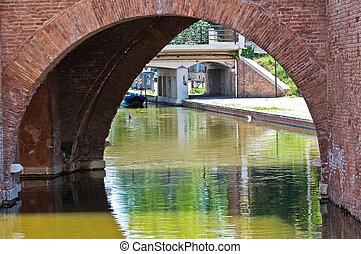 Trepponti bridge. Comacchio. Emilia-Romagna. Italy.