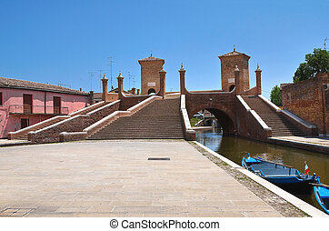 trepponti, bridge., comacchio., emilia-romagna., italy.