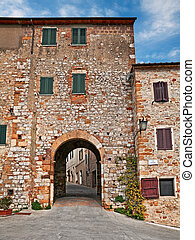 Trequanda, Siena, Tuscany, Italy: city gate of the ancient ...