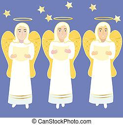 tres, ángeles, canto, navidad, canciones