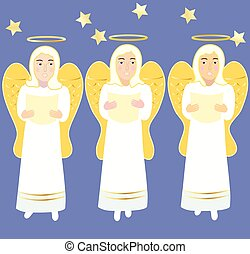 tres, ángeles, canto, navidad, songs.eps