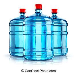 tres, 19, liter, o, 5, galón, plástico, agua bebida,...