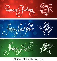 tres, año nuevo, y, navidad, banderas