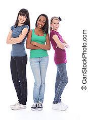 tres, adolescente, amigos, negro, blanco, y, asiático