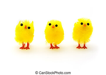 tres, amarillo, polluelos de pascua, consecutivo