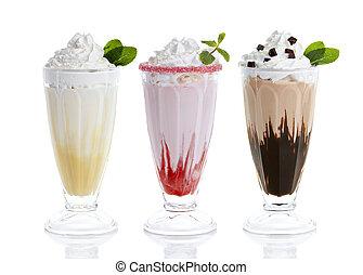 tres anteojos, de, milkshakes