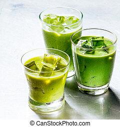 tres anteojos, de, sano, verde, zalamero, sacudidas