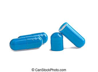 tres, azul, cápsula, abierto, medicina, aislado, blanco, plano de fondo