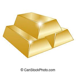 tres, barras del oro, blanco
