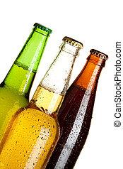 tres, botellas de cerveza