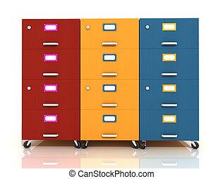 tres, cajón, de madera, archivo, coloreado