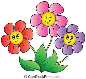 tres, caricatura, flores