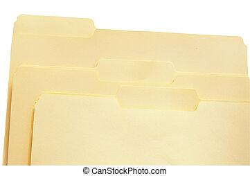 tres, carpetas de fichero, blanco