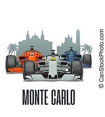 tres, carreras, carlo, cityline, prix, monaco., monte, magnífico, coches