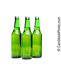 tres, cerveza, bottles., aislado, blanco, plano de fondo