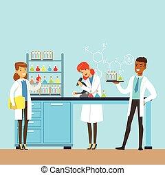 tres, científicos, dirigir, investigación, en, un, laboratorio, interior, de, ciencia, laboratorio, vector, ilustración