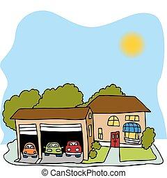 tres, coche, garaje, casa
