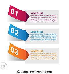 tres, colorido, pegatina, infographic