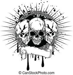 tres, cráneos