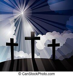 tres, cruces, con, rayos ligeros