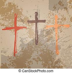 tres, cruces, en, el, grunge, fondo., el, bíblico, concepto,...