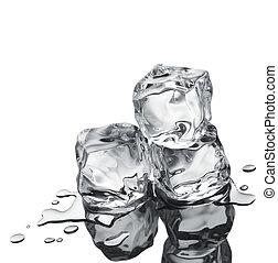 tres, cubitos de hielo