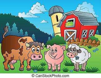 tres, cultive animales, cerca, granero