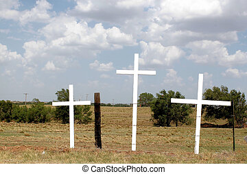 tres, de madera, cruces
