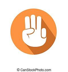 tres, dedos, gesto