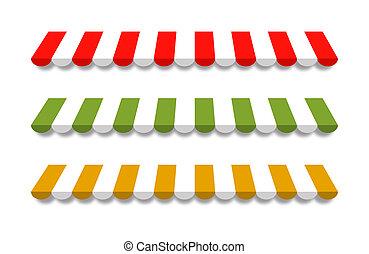 tres, diferente, coloreado, vector, toldos