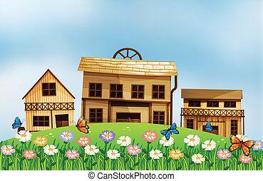 tres, diferente, de madera, casas, en, el, colina