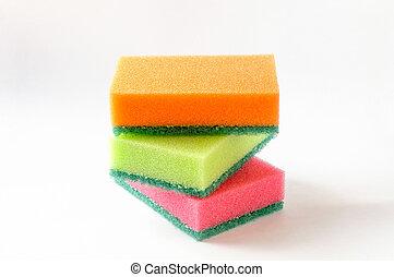 tres, esponjas, coloreado