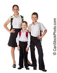 tres, feliz, estudiantes, posición, juntos